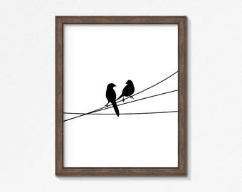 Birds on a Wire Print, Black and White, Animal Wall Art, Modern Art, Instant Download, DIY, Printable