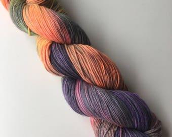 Hand Dyed 4ply Superwash Merino Cotton Sock Aura