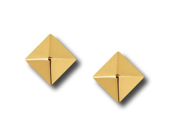 "AF Collection ""Pyramid"" Stud Earrings, Yellow Gold"