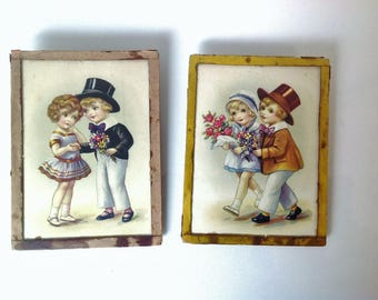 set of 2 vintage french framed pictures, small frames, 1950's, Germaine Bouret style
