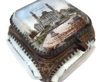 "antique french edwardian glass jewelry box ""Paris - Trocadero"", Paris souvenir, trinket box"