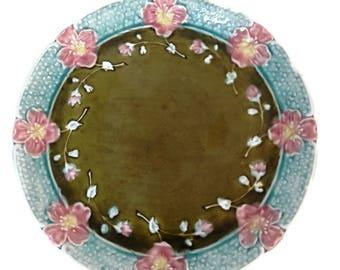 vintage majolica plate, 1900's majolica tray, french dish