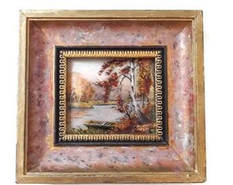 small vintage Limoges enamel frame