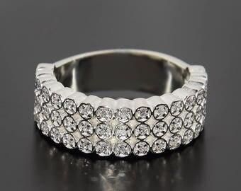 Band ring, Silver band, Woman band, Silver band ring, Band with stones, White band silver, Wide band, Silver wide band, CZ silver band