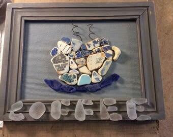 "Framed sea pottery/sea glass ""Coffee sign"""