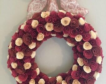Red paper flowers/cream paper flowers/dark red paper flowers/burnt red paper flowers/paper flowers/paper flower wreath/shades of red paper