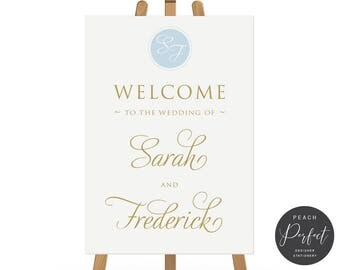 Monogram Wedding Welcome Sign, Wedding Poster, Printable Digital or Professionally Printed, Free Colour Changes, Monogram Suite