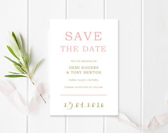 Pink and Gold Modern Wedding Save the Date Card - Free Colour Changes - Commercially Printed - Peach Perfect Australia