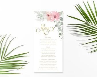 Wedding Menu, Custom Printable Menu, Pink Floral and Gold, Watercolour Flower Menu, Free Colour Changes, DIY Wedding, Kristen Suite