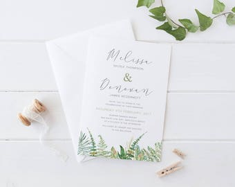 Wedding Invitation, Leafy Tropical Foliage Wedding, Printable Digital File or Professionally Printed, Rustic Garden Wedding, Leafy Love