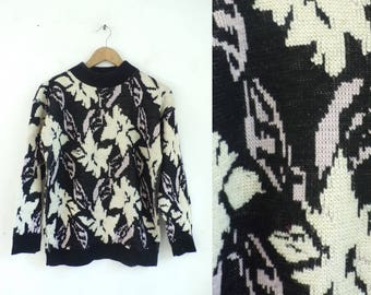 70s metallic floral sweater chunky knit acrylic sweater 1970s black lavender metallic gold pullover mock neck womens jumper medium