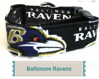 """Baltimore Ravens Dog Collar, Side Release Buckle, 1"""" & 1.5"""" Inches Wide, Dog Collar"""