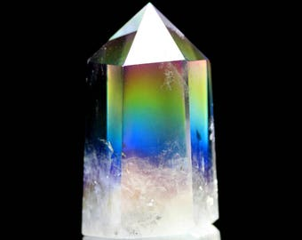 "Angel Aura Quartz Generator Crystal Point ""Lifted by Angels"" Energy Magnification Remove negative energy all kinds Stimulate Cleanse Chakras"