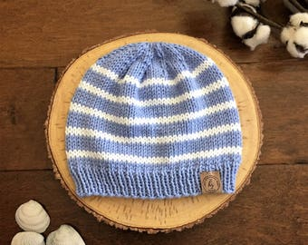 Baby Knit Hat//Baby Boy Beanie//Blue & White Baby Hat//Newborn Beanie//Striped Baby Hat//Baby Shower Gift//Photo prop//Baby Boy Gift