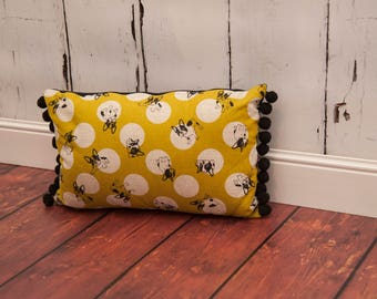 French bulldog cushion with pom pom trim
