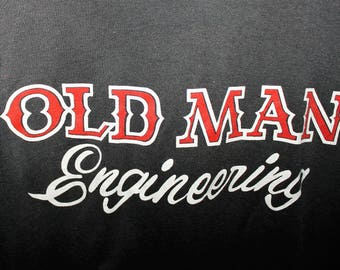 Vintage 70s 80s Paper Thin Black T Shirt Screen Stars Old Man Engineering Faded 43 Chest Worn Trashed