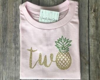Pineapple Birthday shirt, birthday shirt, summer birthday shirt, infant birthday shirt, luau birthday shirt