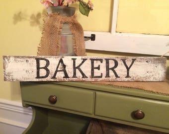 Small white wash Bakery Kitchen Sign