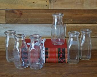 6 rustic milk bottles - Set of vintage glasses - Rustic decor - Collectible milk bottles - 250 ml - small bottles B