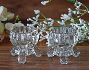 Vintage set of two candlesticks - Clear glas candle holders