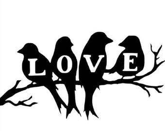 Love Birds on a tree branch Vinyl Decal Sticker Wall Art DIY Sign Wedding Anniversary Wood Signs