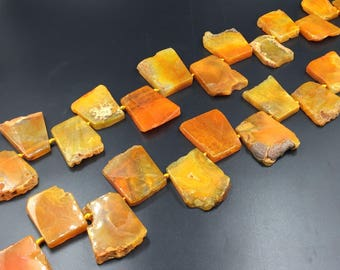 Flat Trapezoid Agate Slice Beads Orange/Yellow Agate Pendant Beads Slab Nugget Beads Graduated Agate Gemstone Beads Supplies 22-40*35-45mm
