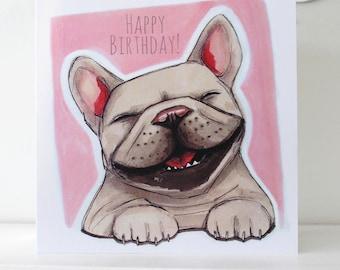 French Bulldog (Frenchie) Happy Birthday Card - Pink