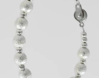 """Silver bracelet CLIP beads metal """"Stardust"""", very practical and compatible with other bracelets CLIP 123Pierres clip clasp"""