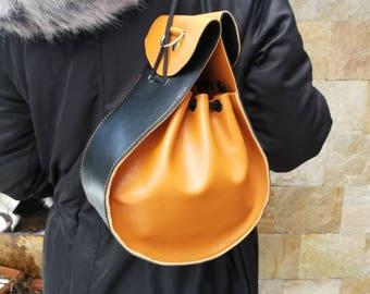Designer Small Leather Purse, Handmade Leather Pouch. Small Leather Purse. Leather Accessories. Small Handbag. Unique black and orange purse