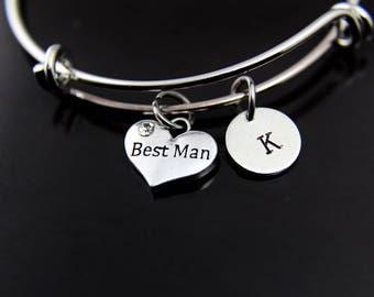 Best Man Bracelet Silver Best Man Charm Bangle Best Man Charm Best Man Jewelry Best Man Gift Personalized Bangle Initial Bracelet