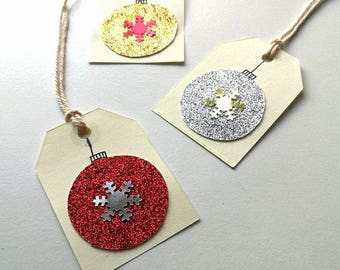 Glitter Bauble Christmas Gift Tags x 12