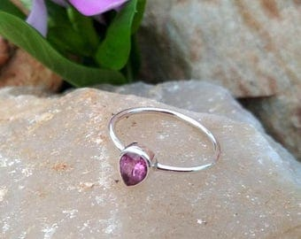 On Sale Pink Tourmaline Pear Cut Sterling Silver Simple Ring -  Handmade Ring- Gift Ring for Her- Tiny Ring