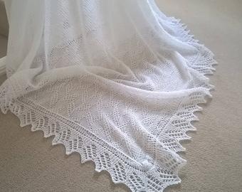 White baby shawl / christening shawl / baby shawl / white shawl/ square shawl / white l;ace shawl / receiving blanket