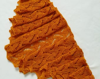 SALE Orange lace scarf / lace scarf / summer scarf / wool scarf / long scarf