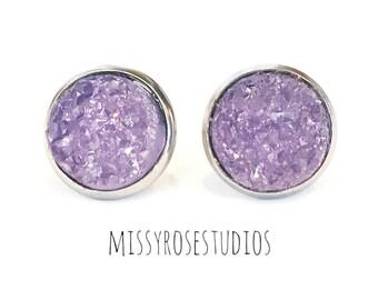 large purple earrings, hypoallergenic earrings studs, large stud earrings, stainless steel jewelry, jewelry handmade, ultraviolet earrings