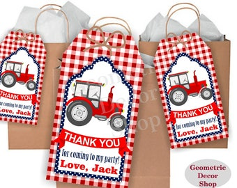 Thank you cards Tractor Favor tags digital gift Decoration birthday printable DIY red Plaid navy blue Thank you card tag FTractor3