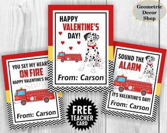 Fire truck / Valentine Card / Fireman Valentines Card / Valentine's Day / Dog / Personalized Valentine Tags teacher Kids Classroom VCard55