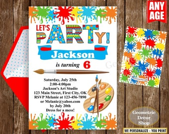Painting Party Invitation, Art Party Invitation, Art Birthday Party Invitation, Art Themed Party, Paint Party Invites Painting Party Paint10