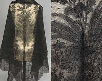 Huge antique chantilyl lace shawl 1860s 1870s