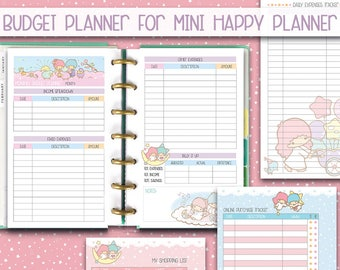 mini happy planner printable inserts Budget planner kawaii insert finance inserts budget inserts expense tracker