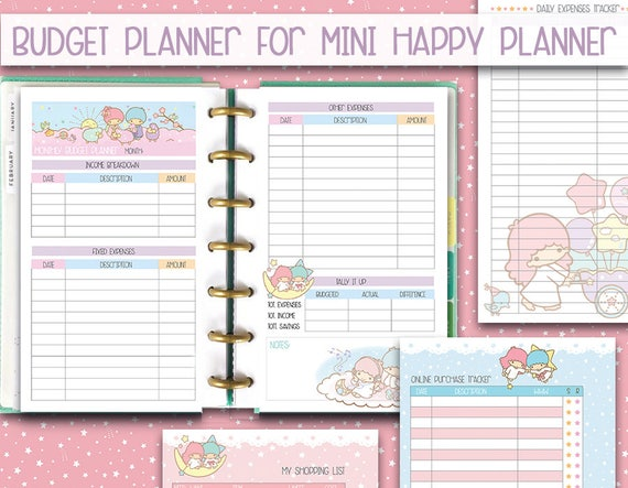 Revered image with free mini happy planner printable inserts
