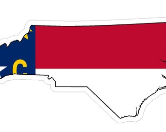 North Carolina State (Q34) Shape Flag Vinyl Decal Sticker Car/Truck Laptop/Netbook Window