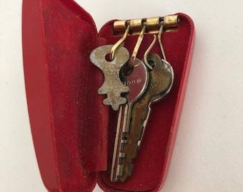 Vintage Key Case, Red Key Case, Vintage Keys, Retro Case