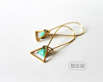 Triangle gold Sequin enameled sea green earrings