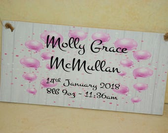 A16 NEW Personalised Baby Girl Plaque Gift Sign