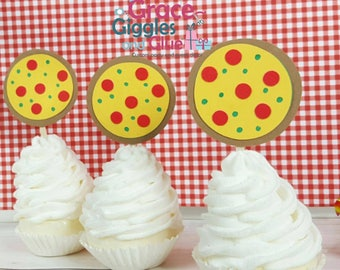 12 Pizza Themed Cupcake Toppers