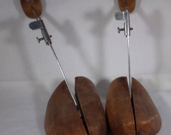 Wood and metal shoe stretchers
