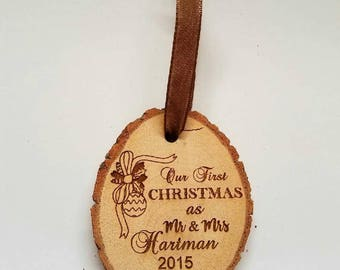 Personalized Our First Christmas as Mr & Mrs Wedding Christmas Ornament