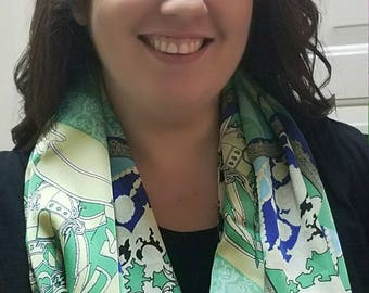 Abstract block print polyester infinity scarf