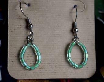 Seafoam green glass bead earring set